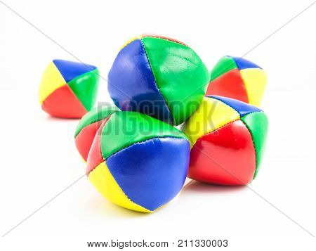 Concept for Multitasking Challenges Group of Colorful Juggling Balls on White Background poster
