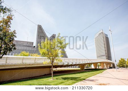 ZARAGOZA, SPAIN - August 21, 2017: View on the Water Tower, building of international exposition held in 2008 and designed by Enrique de Teresa