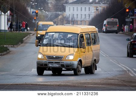 Yoshkar-Ola, Russia - October 27, 2017 A photo of the public transport of the model Gazelle, cruising along route 16 in the city of Yoshkar-Ola, Russia
