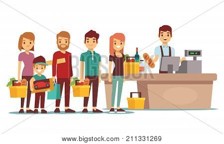 Customers people queue at cash desk with cashier in supermarket. Shopping vector concept. People queue in store market illustration