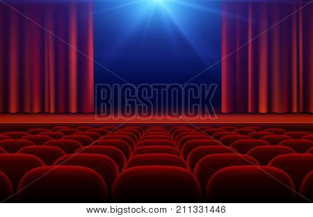 Cinema or theater hall with stage, red curtain and seats vector illustration. Cinema theater and curtain for stage
