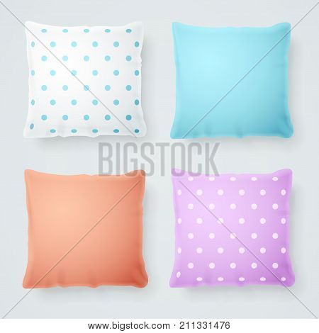 Realistic Detailed 3d Pillow Mock Up Color and with Droplets Set. Vector illustration of Soft Domestic Decorative Cushions