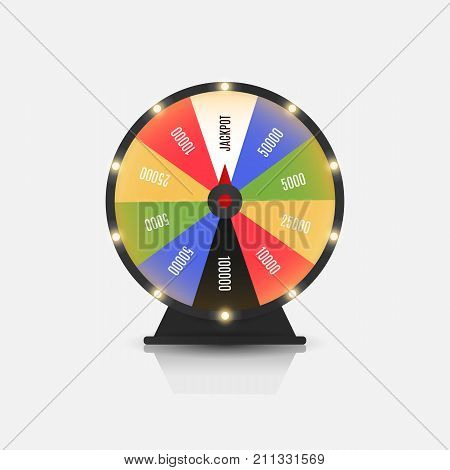 Bright fortune wheel gamble game illustration. Spin the wheel daily bonus