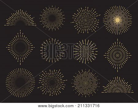 Abstract sun burst collection - hand drawn sunshine lines set. Sunshine and sunburst radial shape, star line burst, vector illustration
