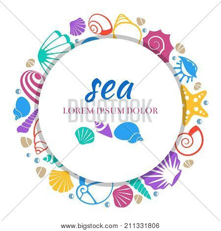 Sea round banner design - colorful seashells concept. Seashell and starfish, color exotic cockleshell, vector illustration