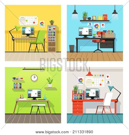 Creative work space for designers and artists with different tools. Vector banners set in cartoon style. Workplace creative designer, desk and workspace professional illustration