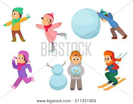 Kids playing in winter games. Different childrens in action poses. Boy and girl play with snow ball. Vector illustration
