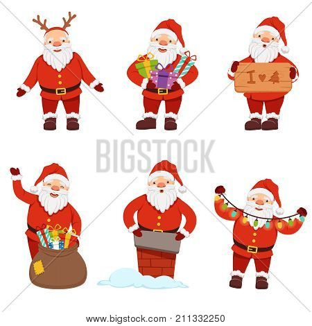 Vector illustrations of santaclaus in action poses. Christmas pictures set. Characters of santa claus with gift to new year and xmas