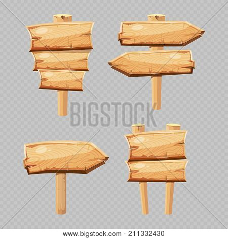 Vector cartoon wooden blanks isolated on transparent background. Set of wooden sign board and blank plank panel illustration