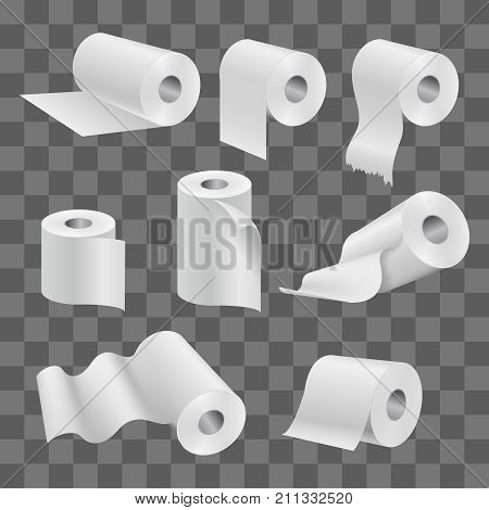 White toilet paper roll and kitchen towels isolated on transparent background. Vector roll paper for toilet and towel for bathroom illustration