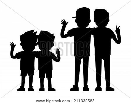 Best friends silhouettes isolated on white background - baby boys and teenager boys black silhouettes. Best friends people, young friendship together, vector illustration