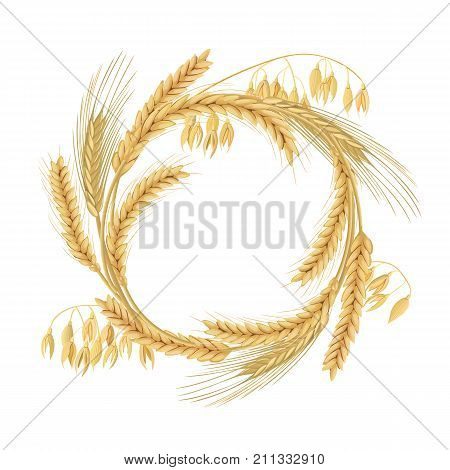 Wreath made of Wheat, barley, oat and rye spikes. Four cereals grains with ears, and free space. 3d icon vector. Horizontal label. For design, logo, symbol, cooking, bakery, tags, labels, textile