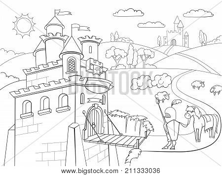 Kids Coloring cartoon knightly castle raster Zentangle style. Black and white, knight, horse, armor, castle, fairy tale and nature