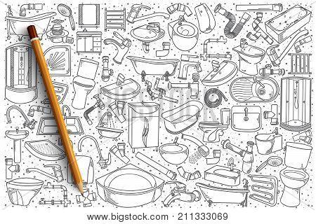 Hand drawn plumbing fixtures vector doodle set background