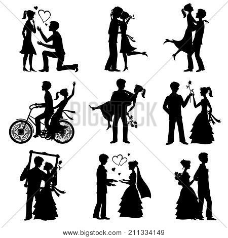Romantic love couples vector silhouettes for valentines day and wedding card. Couple marriage and romantic love, valentine man and woman illustration