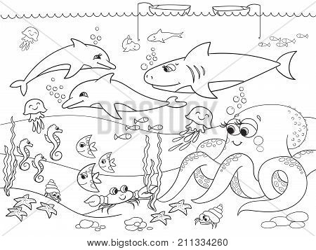 Seabed with marine animals. Raster coloring for kids, cartoon. Fish, octopus, shark, dolphin, boat, fishing, starfish, fish moon crab cancer bottom seaweed waves and sea horse