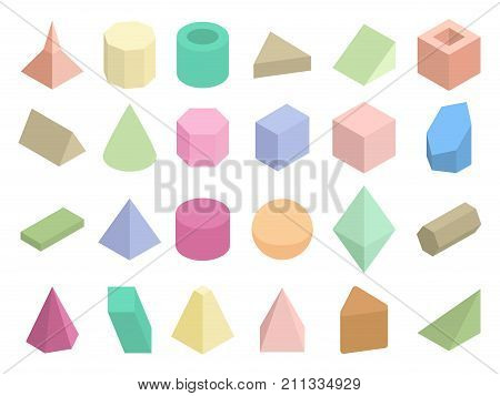 Isometric 3d geometric color shapes vector set. Isometric figure pyramid and triangle illustration