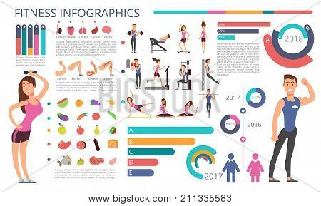 Physical activity, fitness and healthy lifestyle vector infographic. Sport healthy fitness infographic, exercise activity and training gym illustration