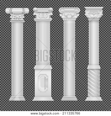 Realistic white antique roman column isolated on transparent background. Column and pillar classic, vector illustration