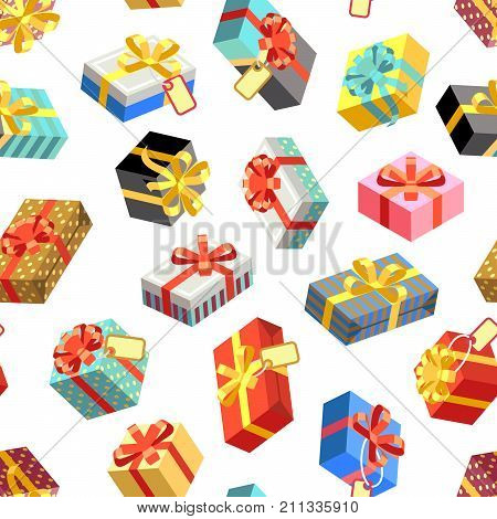 Seamless pattern with different giftboxes colored on white background. Flat-style vector illustration. Gift seamless pattern background, holiday birthday package gift box