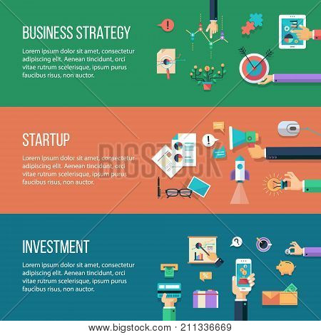 Set of vector flat design business banners headers with icons and infographics elements. Investmentstart-up business strategy
