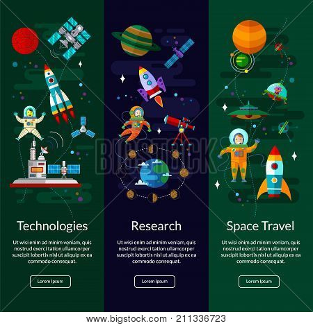Space universe vertical banner set with flat symbols of planets rockets satellites space station and ufo.