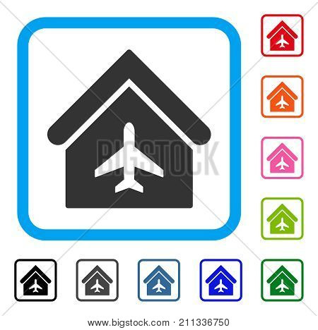 Aircraft Hangar icon. Flat grey iconic symbol in a blue rounded squared frame. Black, gray, green, blue, red, orange color variants of Aircraft Hangar vector. Designed for web and software interfaces.