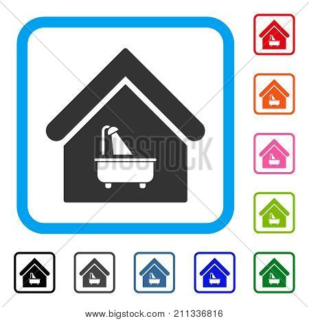 Bathroom icon. Flat gray pictogram symbol inside a blue rounded frame. Black, gray, green, blue, red, orange color variants of Bathroom vector. Designed for web and application user interface.