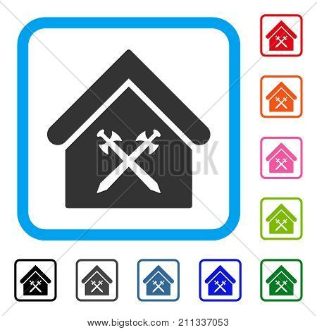Guard Office icon. Flat gray pictogram symbol in a blue rounded square. Black, gray, green, blue, red, orange color versions of Guard Office vector. Designed for web and app UI.