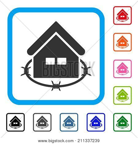 Prison Building icon. Flat grey pictogram symbol inside a blue rounded rectangular frame. Black, gray, green, blue, red, orange color versions of Prison Building vector.