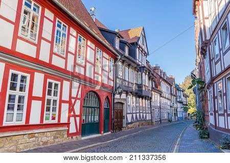 Colorful Street With Half-timbered Houses In Hildesheim