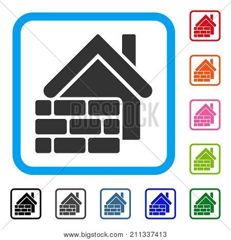 Realty Brick Wall icon. Flat grey pictogram symbol inside a blue rounded rectangular frame. Black, gray, green, blue, red, orange color additional versions of Realty Brick Wall vector.