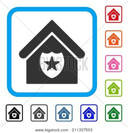 Realty Protection icon. Flat grey iconic symbol inside a blue rounded frame. Black, gray, green, blue, red, orange color variants of Realty Protection vector.