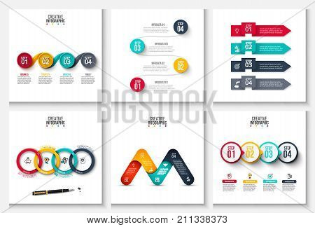 Set of vector arrows, circles and other abstract elements for infographic. Business concept with 4 options, parts, steps or processes. Linear icons.