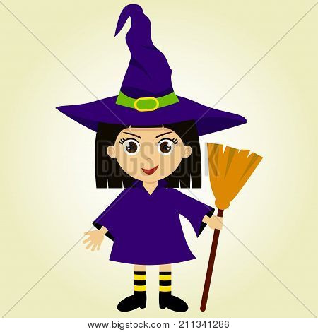 A cute witch  Halloween costume. Lovely girl in a witch costume. The costume includes a witch cap a broom boots a robe and bright socks