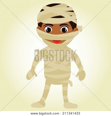 A cute mummy Halloween costume. A boy in a mummy, zombie suit with bandages and paper. Afro-American boy mulatto in the costume of the Egyptian mummy