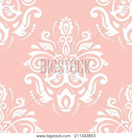 Orient vector classic pattern. Seamless abstract background with repeating elements. Orient white and pink background
