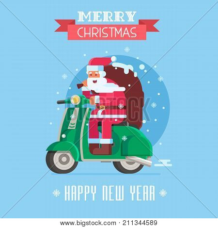Merry Christmas and Happy New Year card with Santa Claus with gift bag riding winter scooter. Christmas motor bike with Father Frost delivering presents postcard template.