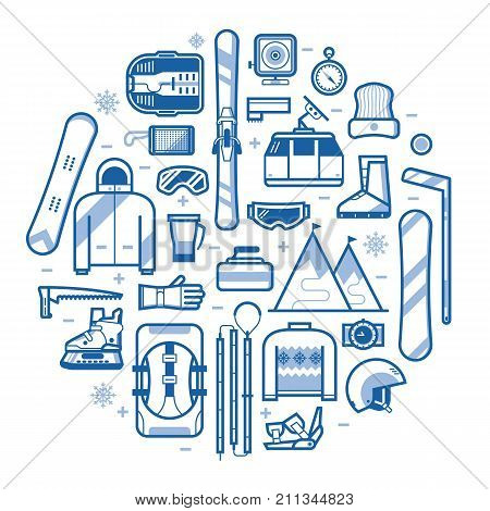 Winter lifestyle background with different snow activities line art elements stylized in circle. Winter sports card with snowboarding and skiing equipment in outline design. Snow games icon set.