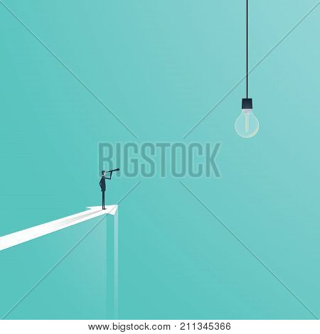 Business creativity vector concept with business visionary looking at lightbulb as a genius idea symbol. eps10 vector illustration.