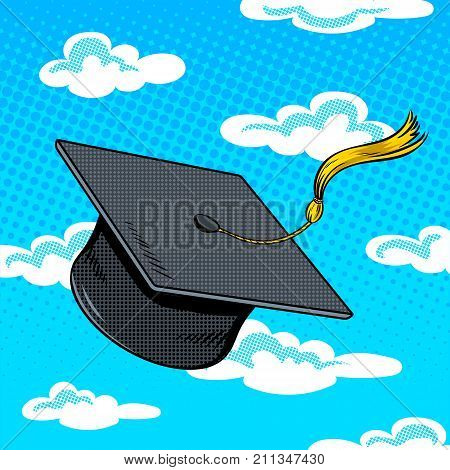 Square academic cap fly in sky pop art retro vector illustration. Comic book style imitation.