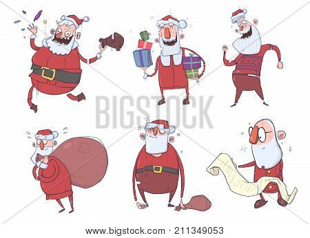 Santa Claus characters for Christmas cards. Happy Santa Claus bearing gifts in the bag and in the box, reading, dancing. Cute cartoon people. Vector Illustration Set.