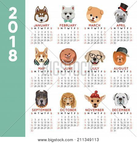 2018 calendar design for dog year of pet dogs breed icons by month. Vector design template of funny cartoon dogs muzzle in Santa hat, glasses or tie bow and smoking pipe