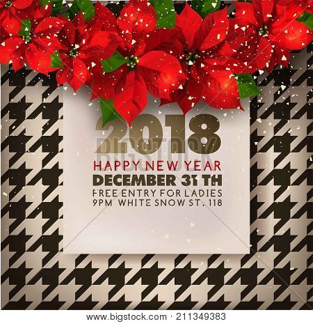 happy new year 2018 party invitation poster design template of christmas poinsettia wreath garland in snowflakes