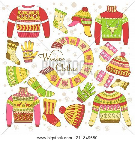 Knitted winter clothing or knitwear garments icons. Vector isolated set of wool sweater, scarf and hat or mittens and gloves, socks and stockings with yarn woolen ornament pattern