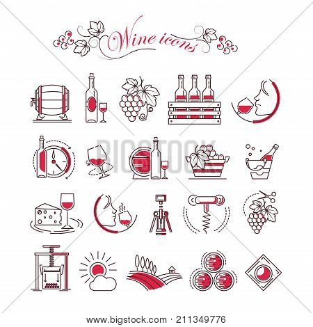 Wine accessory vector icons set of wine glass or bottle and corkscrew opener, sommelier drink and vine vintage. Vector outline production grape press, barrel and cheese snack