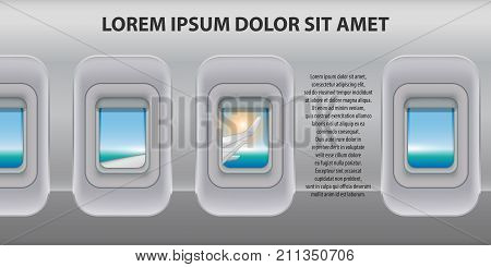 Banner of a plane portholes. Brochure in tourism theme. Travel agency advertisement airplane poster design. Vector Illustration EPS 10