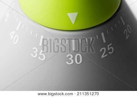 30 Minutes / Half Hour - Macro Of An Analog Kitchen Egg Timer