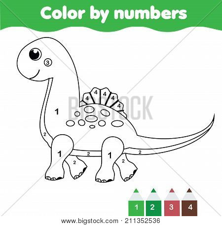 Children educational game. Coloring page with cute dinosaur. Color by numbers printable activity worksheet for toddlers and pre school age. Animals theme