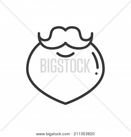 Christmas santa claus beard thin line icon. New Year celebration outline hipster pictogram. Xmas winter element. Vector simple flat linear design. Logo illustration. Santa beard symbols